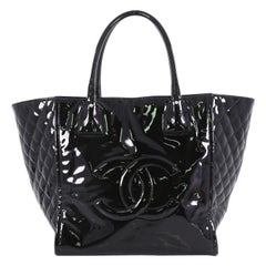 Chanel CC Zip Tote Quilted Patent Medium