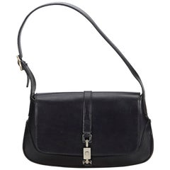 Gucci Black  Leather Jackie Shoulder Bag Italy