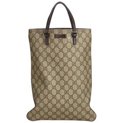 Gucci Brown Beige Coated Canvas Fabric GG Supreme Tote Bag Italy w/ Dust Bag