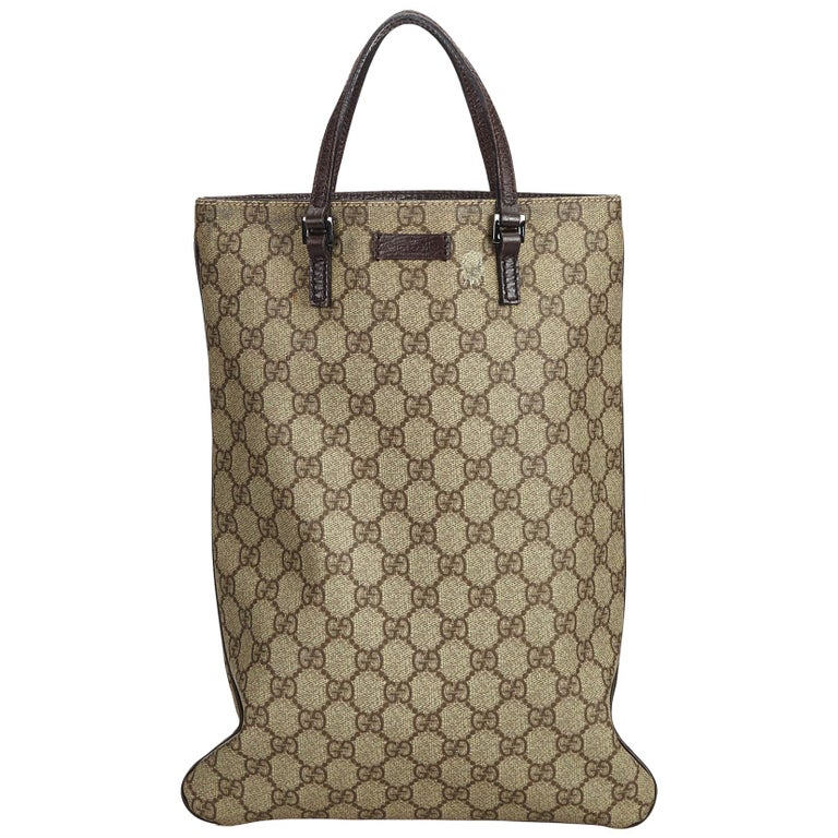 c7c3268080b558 Gucci Brown Beige Coated Canvas Fabric GG Supreme Tote Bag Italy w/ Dust Bag  For