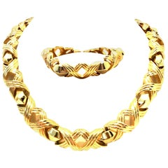 "20th Century Gold Link ""X"" Chunky Necklace & Bracelet By, Christian Dior"