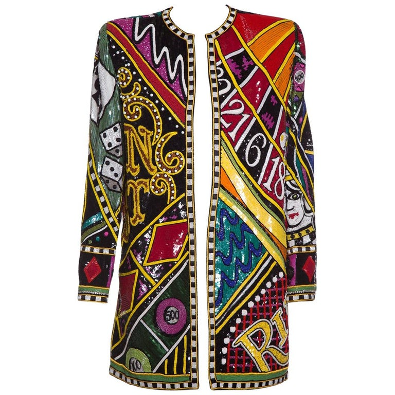 BOB MACKIE  Monte Carlo Bead Embellished Casino Motif Jacket SZ M For Sale