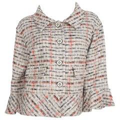 CHANEL  Grey and Multi Color Tweed Jacket Sz 44