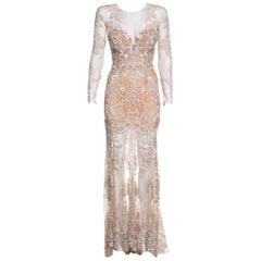 ZUHAIR MURAD  Nude Mesh & Sequin Embellished Gown SZ 4