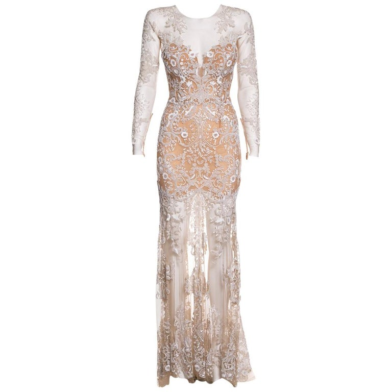 ZUHAIR MURAD  Nude Mesh & Sequin Embellished Gown SZ 4 For Sale