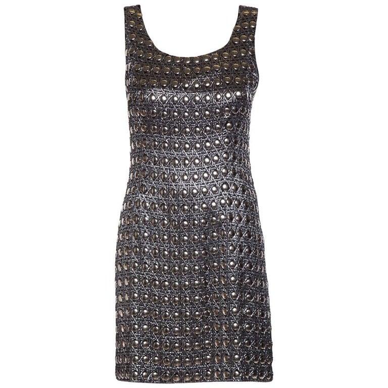 PACO RABANNE  Vintage Silver Shift Dress SZ 6 For Sale