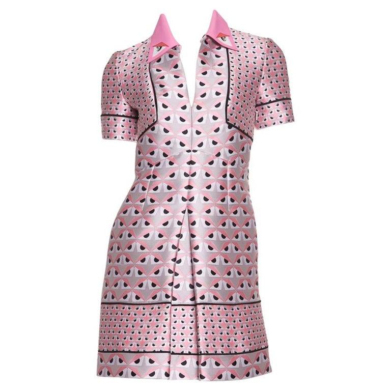 FENDI  Pink Jacquard Monster Dress SZ 36 For Sale