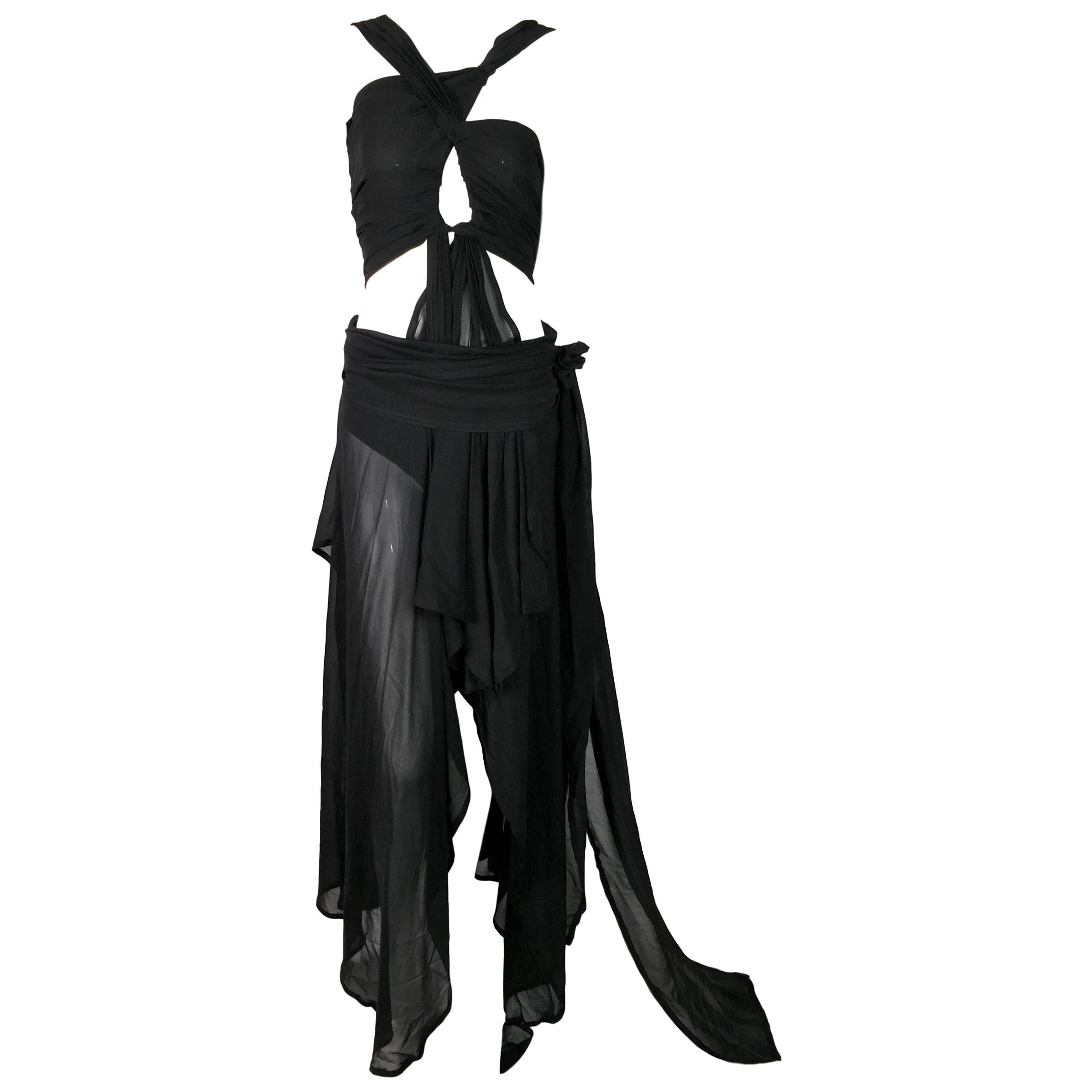 S/S 2002 Yves Saint Laurent Tom Ford Runway Sheer Black Silk Cut-Out Gown Dress