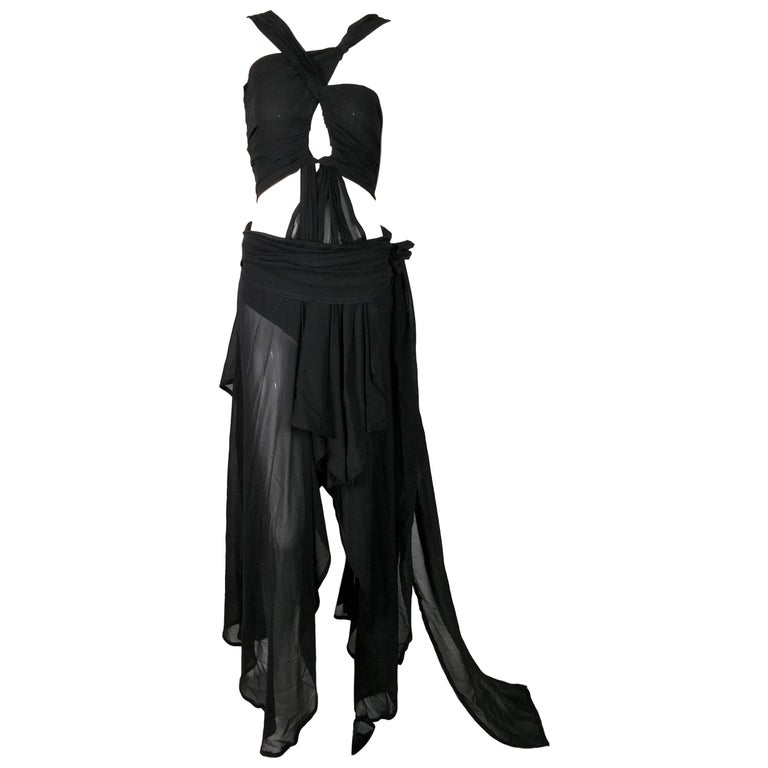 S/S 2002 Yves Saint Laurent Tom Ford Runway Sheer Black Silk Cut-Out Gown Dress For Sale