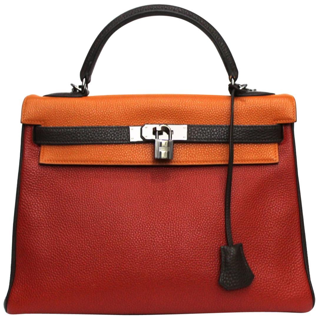 Hermes Kelly Handbag Tricolor Togo 32