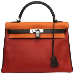Hermes Kelly Handbag Tricolor Togo 32