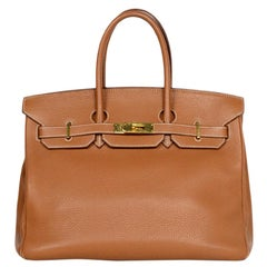 Hermes Togo Leather Tan Gold 35cm Birkin Bag GHW