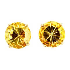 5.9 Carats Yellow Beryl Gold Earrings