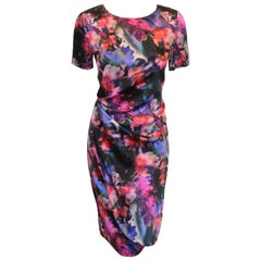 St. John Spring Floral Multi Color Silk Draped Dress