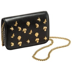 Roberto Cavalli Circus Purse Black Leather Gold Animal Embellishment Chain Strap