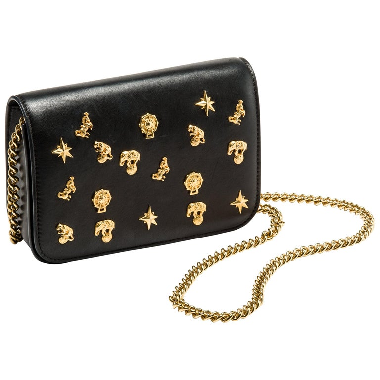 Roberto Cavalli Circus Purse Black Leather Gold Animal Embellishment Chain Strap For Sale