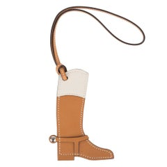 Hermes Paddock Botte Equestrian Boot Sable and Craie Bag Charm