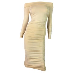 S/S 2001 Celine Yellow Nude Sheer Off Shoulder Ruched L/S Wiggle Dress