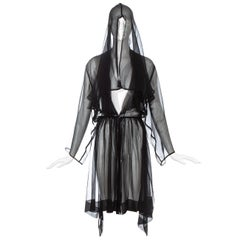 Azzedine Alaia black silk chiffon hooded evening cloak, ss 1988