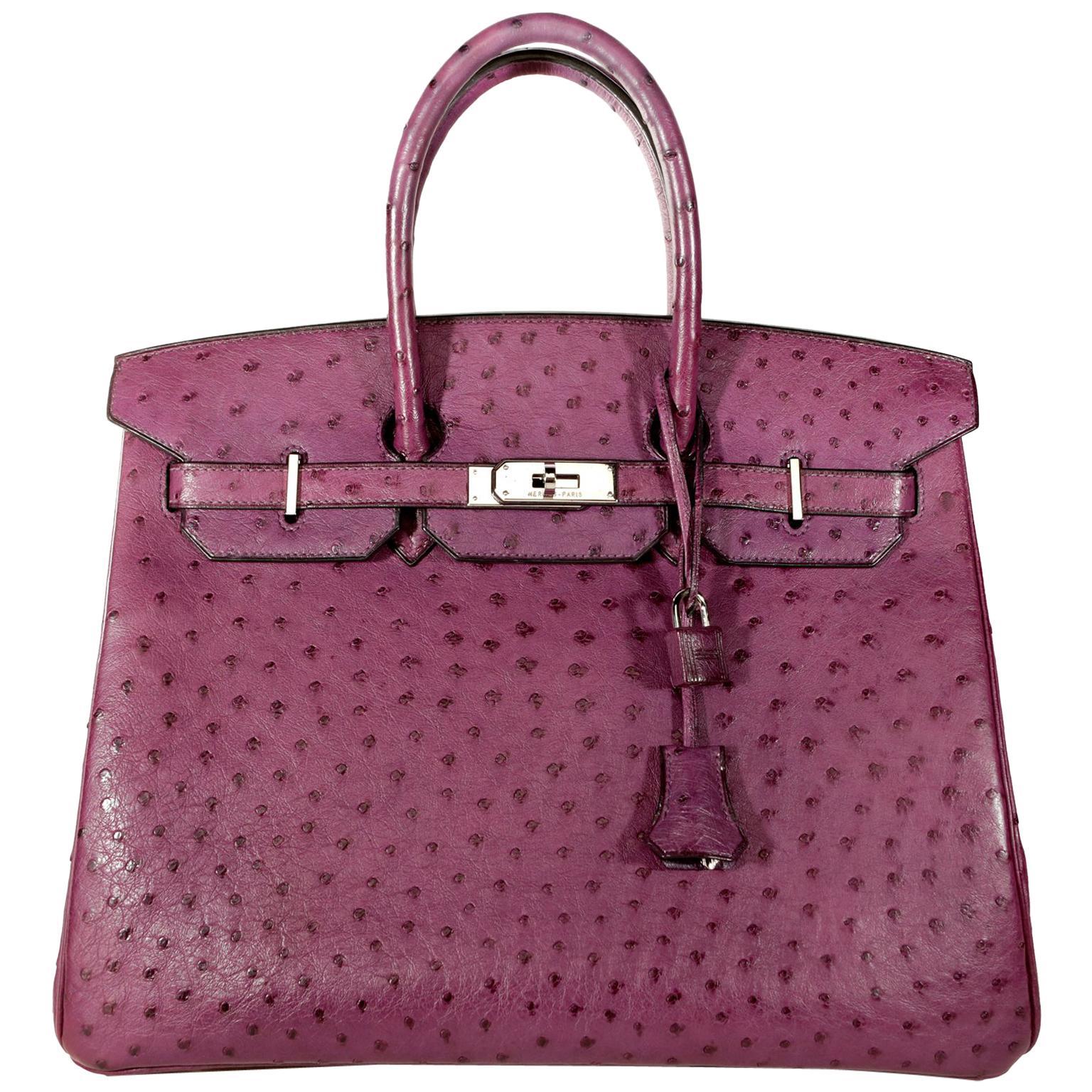 Hermès Violine Ostrich 35 cm Birkin Bag