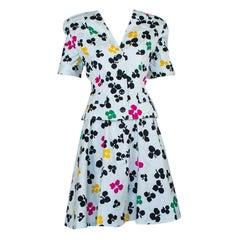Oscar de la Renta Floral Summer Circle Skirt Suit, 1980s