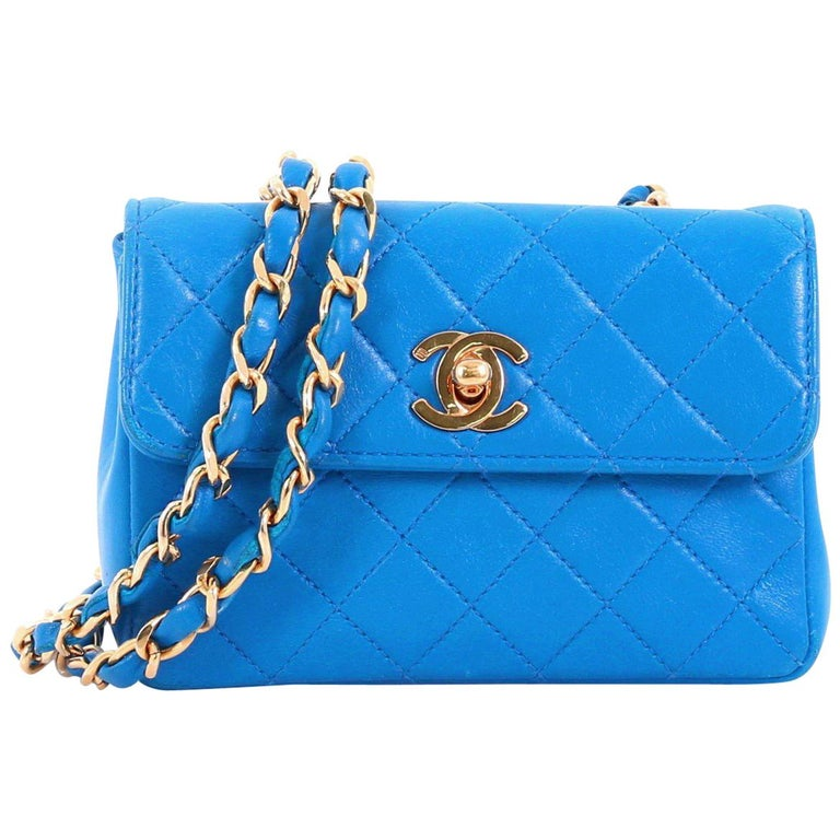 c190d3646e56b8 Chanel Vintage CC Chain Flap Bag Quilted Leather Extra Mini at 1stdibs