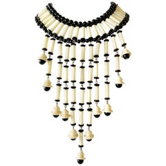 Vintage Black and White Architectural Fringe Statement Necklace