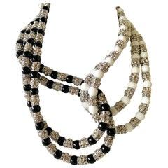 Asymmetrical Black and White Diamanté Statement Necklace
