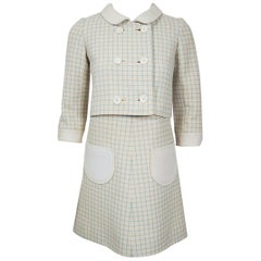1967 Courreges Couture Creme Blue Checkered Wool Mod Space-Age Dress & Jacket
