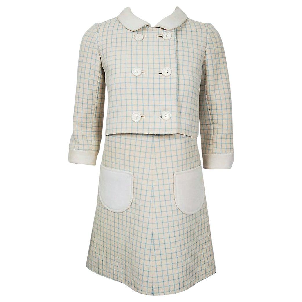 Vintage 1967 Courreges Couture Creme Blue Checkered Wool Mod Dress & Jacket