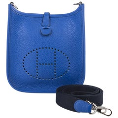 Hermes Evelyne TPM Bag Electric Blue Clemence Palladium