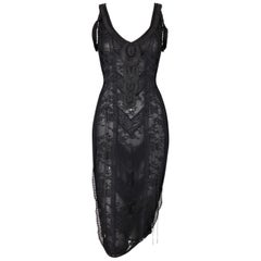 S/S 2006 Christian Dior by John Galliano Sheer Black Lace Corset Tie Up Dress