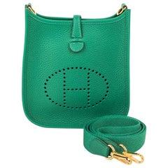 Hermes Evelyne TPM Bag Vert Vertigo Clemence Gold Hardware