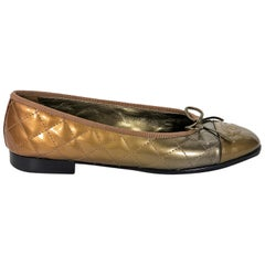 Gold Chanel Quilted Patent Leather Ballet Flats
