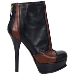 Black & Brown Fendi Leather Platform Ankle Boots