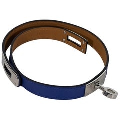 Blue Hermes Leather Kelly Double Tour Bracelet
