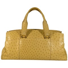 Yellow VBH Ostrich Shoulder Bag