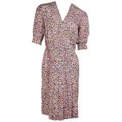 Multicolor Vintage Chanel Printed Silk Dress