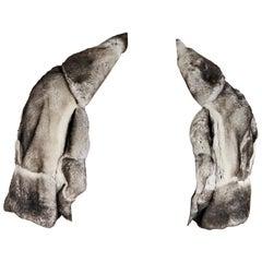 Grey & White Brunello Cucinelli Orylag Fur Cape