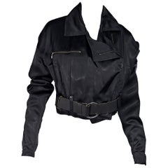 Black Dolce & Gabbana Cropped Silk Moto Jacket