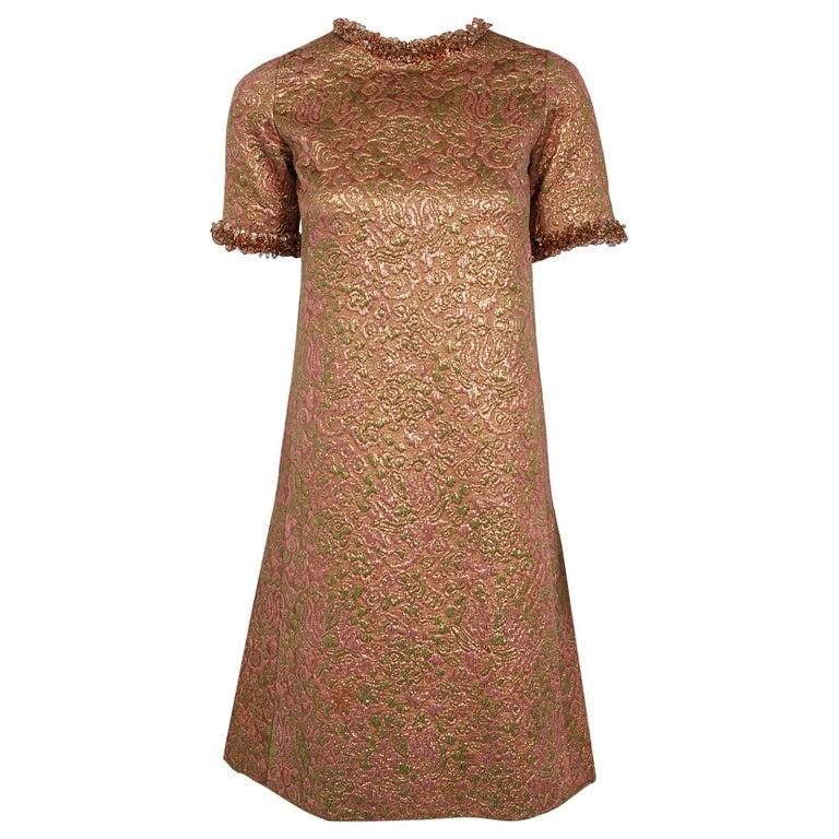3be15f04539 1966 Yves Saint Laurent Paris Beaded Metallic Pink Gold Brocade Cocktail  Dress For Sale