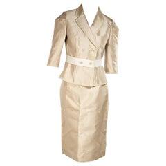 Cream Dolce & Gabbana Silk Skirt Suit Set