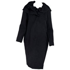 Black Lanvin Wool Ruffled-Collar Coat
