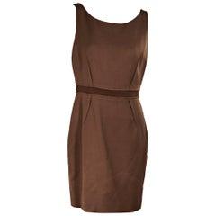Brown Giambattista Valli Sleeveless Wool Dress