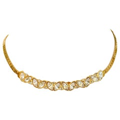 80'S Gold Plate & Swarovski Crystal Choker Necklace By, Monet