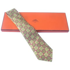 Hermes Paris Silk Golden Sun Print Necktie in Hermes Box Circa 1990s