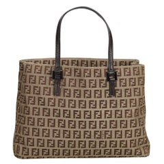 Fendi Brown Beige Jacquard Fabric Zucchino Tote Bag Italy