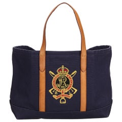 Ralph Lauren Blue Embroidered Canvas Tote Bag United States of America