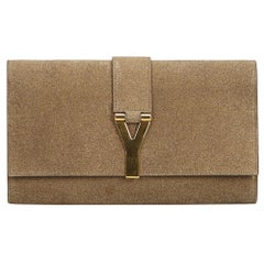 YSL Brown Khaki Fabric Classic Y Clutch France
