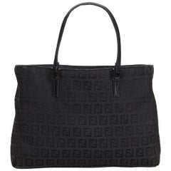 Fendi Black Jacquard Fabric Zucca Tote Bag Italy